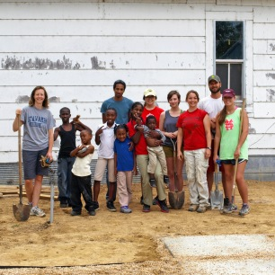 CSTC staff works with MSU students and Baptist Town residents to build a new park.