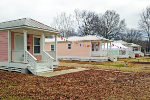 11 Katrina cottages were installed on a vacant lot in Baptist Town.