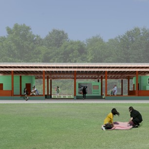 A rendering shows the proposed Tanglefoot Trail Pavilion, complete with restrooms, signage, and seating.