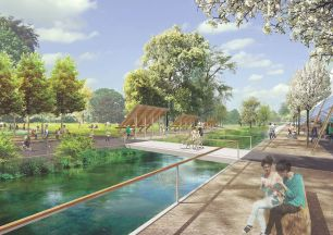 A rendering illustrates one of CSTC's recommendations of relocating some of First Monday's vendor stalls to Town Creek.