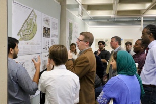 Local leaders from Ripley provide feedback to MSU architecture students during a review of the First Monday site plan.