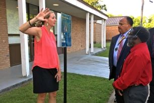 CSTC director Leah Kemp told the story of the Marking the Mule project during Martin Luther King III's visit to Marks.
