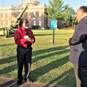 Martin Luther King III (right) visited Marks during the Mule Train's 50th anniversary celebration.