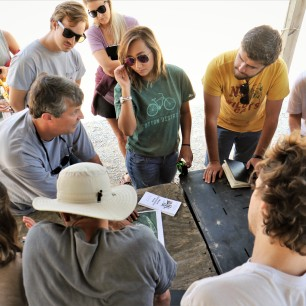 Architecture students visit with First Monday owners to understand current site conditions.