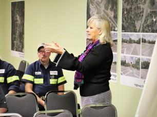 Mayor Sally Garland speaking to the community